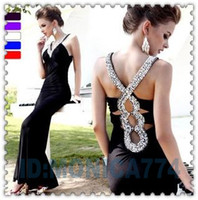 Wholesale Fashion Sexy V Necklace Mermaid Beaded Crystal Yarn Sheath Skirt Long Train Evening Dress Prom Dress