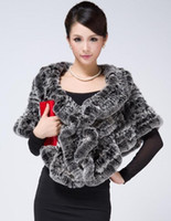Wholesale New manual PI cao mix knitted cloak rabbit wool shawls four color