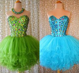 Green Ball Gown Sweetheart Beading Organza Mini Skirt Homecoming Dress Free Shipping Custom Made