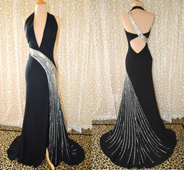 Best Selling Blace Sexy Sheath Deep V-neck Cutting Sequin Sweep Chiffon Party Prom Evening Dresses