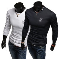 Wholesale Hitz Eagle embroidery long sleeved Crewneck T shirt Brand poloshirt cotton t shirt for