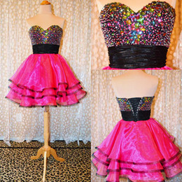 Gorgeous Rose Color Available A-line Sweetheart Beading organza Layer Short Homecoming Dress Sexy Homecoming Graduation Dress Custom made