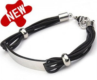 Wholesale New Stainless steel beads Leather bracelet Men s ID Bracelets mix order