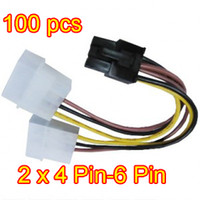 Wholesale 100pcs Pin to Pin PCI E Power Adapter Cable for high end graphics cards any brand