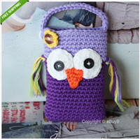 apples monkeys - Cute Owl Monkey Crochet Handmade Knit Cell Phone Bag Covers Crochet Coin Purse freeshiping