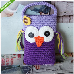 Wholesale Cute Owl Monkey Crochet Handmade Knit Cell Phone Bag Covers Crochet Coin Purse freeshiping