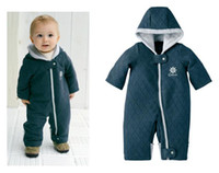 Wholesale Baby Boy Girls Hooded all in one Romper Onesies Overalls Winter Fleece rompers Creepers