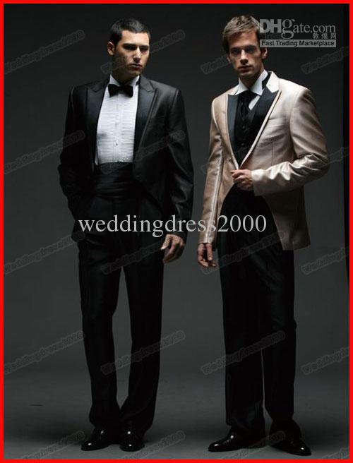 Custom Made Black/Beige Mens Suits Wedding Suits Bridal Groom ...