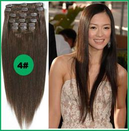 Extensión del pelo humano clip de la cabeza llena en Línea-Venta al por mayor - - 160g / pc 10pc / set 4 # pelo marrón medio del pelo humano del 100% / pinzas de pelo brasileñas en el alto qualit verdadero lleno derecho de la cabeza de las extensiones