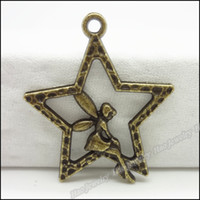 Angel metal angel craft - Fashion Star Angel Charms Pendants Antique bronze zinc alloy Metal Necklace Jewelry Craft