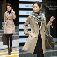 Wholesale Women s Fashion Slim Fit Autumn Double breasted Personalized collar trench coats Coat Outwear