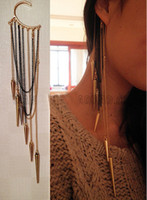 Wholesale Most Popular Womens Ear Cuff Earrings Cone Pendant Tassel Cartilage Cuffs Chains Gold Earring