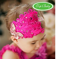 Wholesale feather baby headband girls hairbands hairpin Christmas hair tie Headbands Hair Accessories