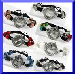 Wholesale Crystal Ball Bracelet Watch - Women Shamballa Bracelet Watch Crystal Bling Disco Ball Shamballa Watches charm jewelry XMAS gift