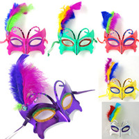 Wholesale Halloween hip hop Party mask kids adult butterfly side Feather mask painted princess mask g