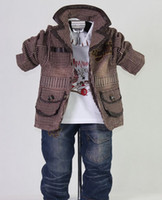 Spring / Autumn boys brown suit - 2012 New Autumn Brown Kids Clothes Set Boys Suit Coat T shirt jeans Boys suit suit