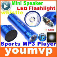 Wholesale Mini Speaker Portable Bike Bicycle Music player LED Flashlight Torch Alarm whistle