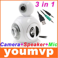 Wholesale 3 in Webcam Mic Microphone Speaker for PDA PC Laptop Desktop computer speakers
