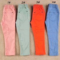3T-4T 100-110-120-130-140 Pea green,Orange,Sky blue,Pink Wholesale Children Casual Pants Kids Clothing Wear For Kids Cotton Girls Clothes Trousers Pink Pant
