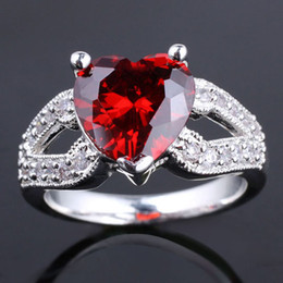 6Pcs Ladies Solitaire Big Heart Red Garnet Silver Ring Yin Ladies Rings J7416 Rings Size 8