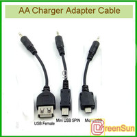 Wholesale 50pcs female usb and micro usb cables for AA Battery Emergency Mobile Cell Phone Charger