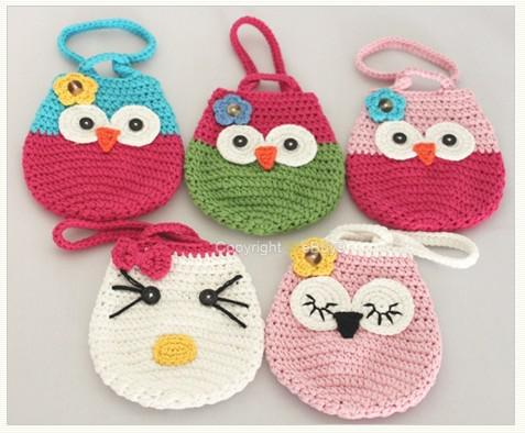 Crochet Patterns For Kids Bags : Girl Kids Handmade Crochet Cute Owl /Cat Handbag Purse Wallet Bag By ...