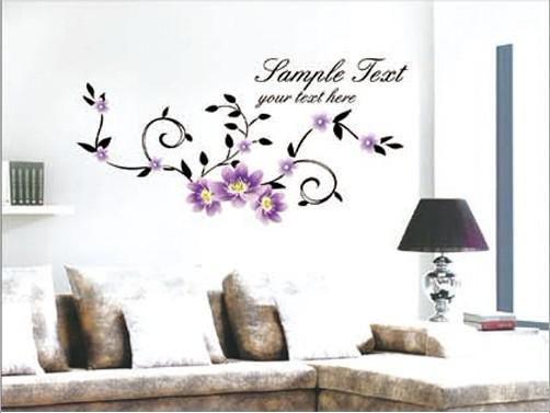 High Quality High Quality Purple Flowers Wall Decals Wall Stickers Elegant Wall . Part 28