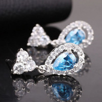 Wholesale 6 Pieces Pear Blue Topaz Stone Fashion Earrings Yin Dangle Piercing Pin Jewelry EH0116 Earring
