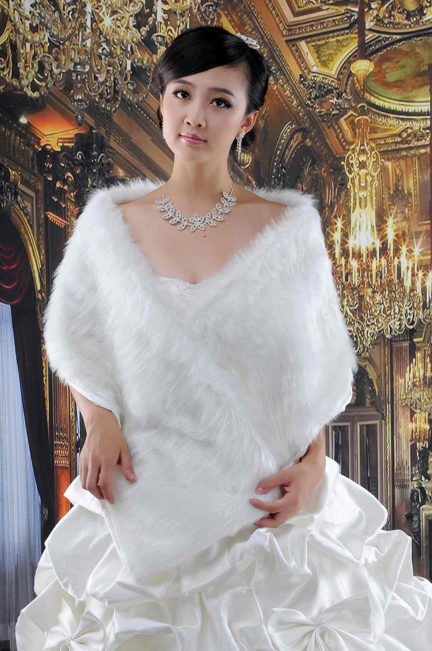 2017 best winter fur wrap shrug bolero coat bridal shawl for Fur shrug for wedding dress