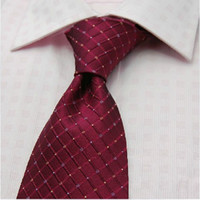Stripe red Neck Tie New Arrival ! Top Quality Dark Red Silk Check Men's Formal Tie Shirt Tie 1 Pcs E007