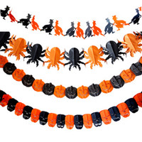 Wholesale Halloween decorative props skull garland pumpkin garland Paper brace Cheap ornamental
