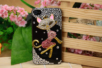 rhinestone cell phone cover - Rhinestone cell phone cover crystal Miss Cat cell phone case for Iphone S G