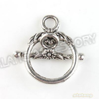 Wholesale 90pcs Circle amp Flower Shape Toggle Hook Clasps Antique Silver Alloy Jewelry Findings mm