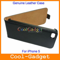 Wholesale Flip Real Genuine Leather Case Cover Pouch for iPhone G iPhone5 wholesales IP5C32