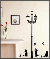 PVC ancient animal art - 23 cm Popular Ancient Lamp Cats and Birds Wall Sticker Wall Mural Home Decor Room Kids