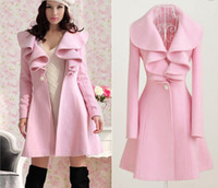 Wholesale winter outerwear coat women pink long trench coat wool blend ruffle style slim coat je137
