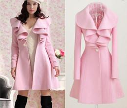 Wholesale winter outerwear coat women pink long trench coat wool blend ruffle style slim coat je137