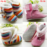 Wholesale Newborn infant Rainbow Snowboots Boots Pink Fur winter boots Shoes for Baby Girls M