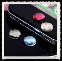 Wholesale 100pcs Crystal Home Button Sticker for iphone4 and iphone s can mix color