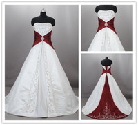 Wholesale 2012 Unique A Line Strapless Embroidery Chapel Train Satin White Red Bridal Dresses Wedding Gowns