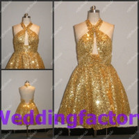 Wholesale Custom Made Sexy Mini Cocktail Dresses Glamorous Keyhole Neck Halter Sparkly Gold Sequins Fabric Short Party Women Dress Fast Shipping