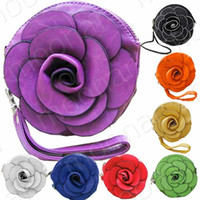 Wholesale Girl s Faux Leather Small Flower Clutch Coin Key Party Bags Handbags Mp3 Purses B475