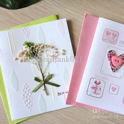 Handcraft 3d Greeting Card With Dry Flowers And Cloth Art
