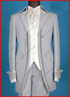 al por mayor trajes de novia-Los nuevos trajes / los smokinges académicos hermosos por encargo del Mens que casan el traje nupcial Jackets + Vest + Tie de los juegos del novio de los smokinges liberan el envío