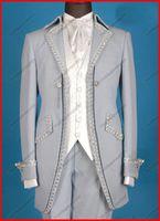 al por mayor trajes de novia-Por encargo nuevos guapos Trajes para hombre de estudiante / esmoquin de la boda esmoquin novio nupcial adapta a la chaqueta + pantalones + chaleco + Lazo envío gratuito
