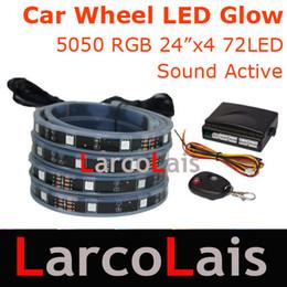 "Wateproof 24 Mode 4x24"" 60cm 72LED 7 Color RGB 5050 Wireless Remote Car Wheel LED Glow Strip Light"