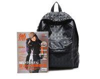 Fashion Handbags PU Leather Backpack Skull Rivets Black 1PC ...