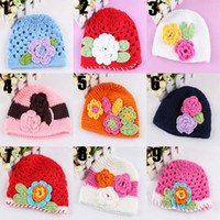Wholesale Baby Caps Children Hats Handmade Crochet Girls Cotton Flower Beanies Colors L HC42