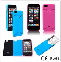 Plastic For Apple iPhone For Christmas plastic hard case cover with ID credit card slot holder for iPhone 5 5G 10pcs