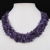 Wholesale 2Pcs Natural Amethyst Quartz Gemstone Chips Beads Toggle Clasp Elegant Necklace Jewelry Gift